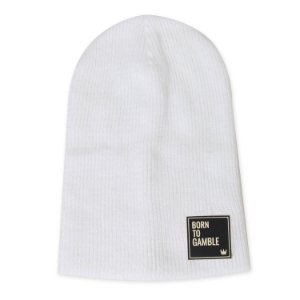 Gorro Canelado Born to Gamble Branco