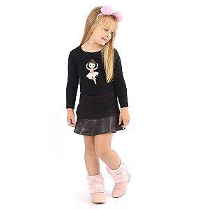 Saia Infantil Cotton com Detalhes Couro Fake