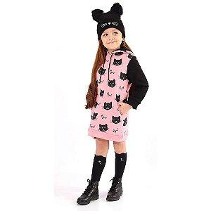 Vestido Infantil Cats com Capuz