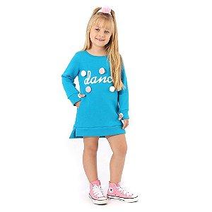 Vestido Infantil de Moletom com Pompom