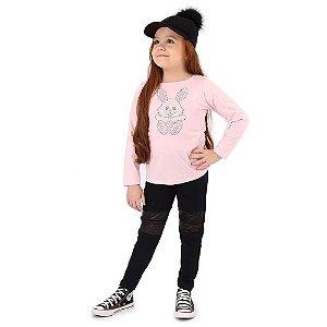 Calça Infantil Menina Cotton com Couro Fake
