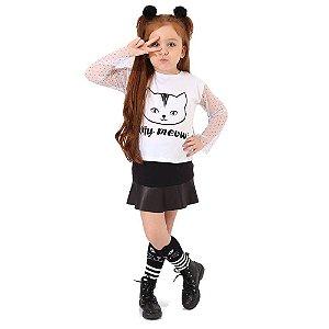 Blusa Infantil Menina com Mangas Tule Poá