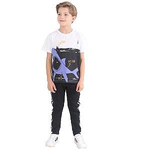 Camiseta Infantil Menino Daddy Shark