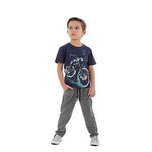 Calça Infantil Menino de Moletom Cinza