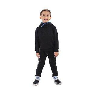 Calça Infantil Menino de Moletom com Retilínea Azul