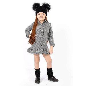 Vestido Infantil Xadrez com Babado na Barra