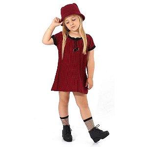Vestido Infantil Xadrez com Laço