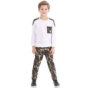 Agasalho Infantil Menino Camuflado Branco