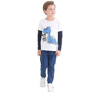 Camiseta Manga Longa Infantil Menino Royal Dino