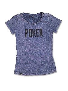 Camiseta Feminina Marmorizado Poker Azul