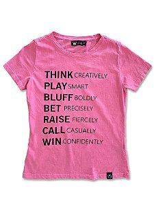 Camiseta Feminina Rosa Poker Lessons