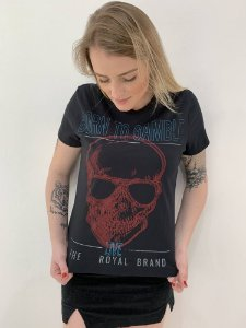 Camiseta Feminina Born to Gamble Black Skull