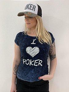 Camiseta Feminina I Love Poker Azul