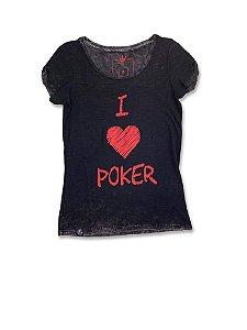 Camiseta Feminina I Love Poker Preto