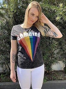 Camiseta Feminina Marmorizada Gambler Preta