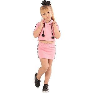 Conjunto Infantil Menina Rosa com Listras