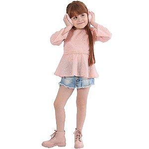 Blusa Infantil Menina de Tecido Rosa