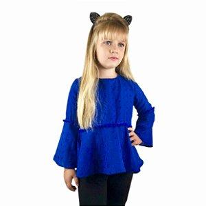 Blusa Infantil Menina de Tecido Azul