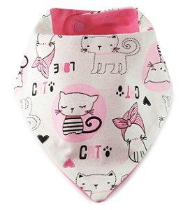 Babador Bandana Super Comfort Gatinhos Rosa Chiclete
