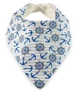 004 Babador Bandana com Estampa Navy e Listras Azul