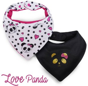 001 Babador Bandana Kit com 2 unidades Super Confort Panda Pink