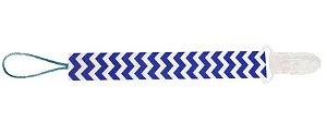 Prendedor de Chupeta Universal com Estampa Chevron Azul