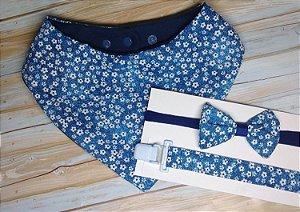 Kit Babador Bandana Com Prendedor de Chupeta e Faixinha Floral Azul Marinho
