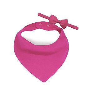 Babador Bandana Comfort + Faixinha Com Mini Laço Pink