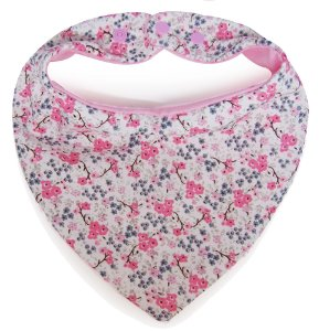 Babador Bandana Com Estampa Mini Flores Rosa