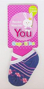 Meia Sapatinho Azul com Rosa You Delos 0 a 4 Meses
