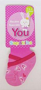 Meia Sapatinho Ursinhos Pink com Rosa You Delos 0 a 4 Meses