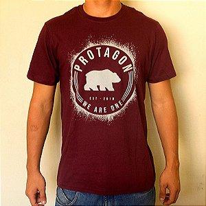 Camiseta Bordô Urso Circular
