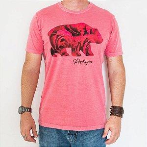 Camiseta Estonada Slim Urso Floral