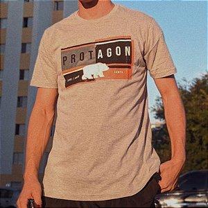 Camiseta Protagon Box - Cinza Mescla