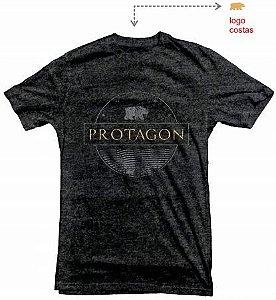 Camiseta Protagon Ondulação - Cinza Chumbo Mescla