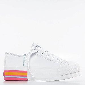 Tênis Capricho Likes Class Colore Platform - Branco/Rosa