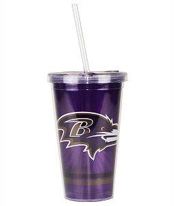 Copo com Canudo NFL - Baltimore Ravens