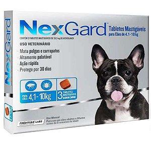 Nex Gard Antipulgas e Carrapatos Merial NexGard 28,3 mg para Cães de 4,1 a 10 Kg