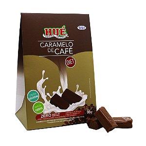 Bala de Caramelo de Café Puro Diet Hué Contém Colágeno Sem Glúten Embalagem Premium 90g