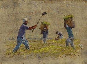 Obra A Colheita do Arroz 26 x 35 Atelier de Pintura Jonas Lemes Cód. ref. 547