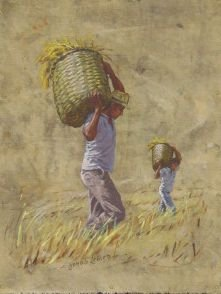 Obra A Colheita do Arroz 35 x 27 Atelier de Pintura Jonas Lemes Cód. ref. 751