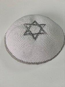 kipá Branco Estrela de Davi
