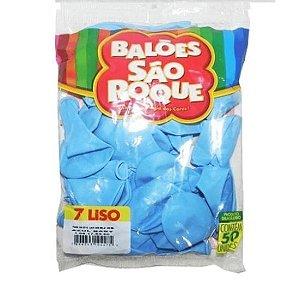 Balão 7 liso C/50 Azul Baby - São Roque