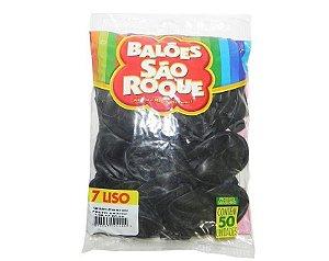 Balão 7 Liso C/50 Preto Ebano - São Roque