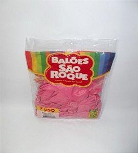Balão 7 Liso C/50 Rosa Tuti Frutti - São Roque