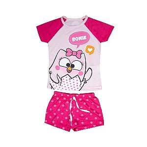 Pijama Short Infantil Feminino Bonie 10 Anos - Uatt
