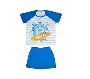 Pijama Short Infantil Masculino Tubarão Byte 10 Anos - Uatt