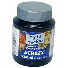 Tinta Tecido Fosca 250ml Preto - Acrilex
