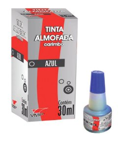 Tinta Almofada Carimbo 30ml Azul - Vmp
