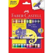 Canetinhas Hidrográfica Bicolor 12un/24 Cores - Faber-Castell